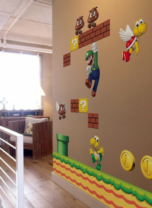 Super mario wall decoration in the nursery of nintendo for Baby rooms decoration games
