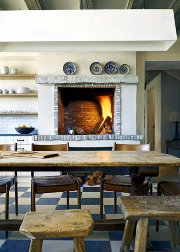 a touch of yesteryear cosy ambience with kitchen fireplace - Kitchen Fireplace