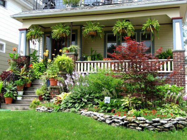 Front garden design ideas creative design ideas for your for Front porch landscaping plants