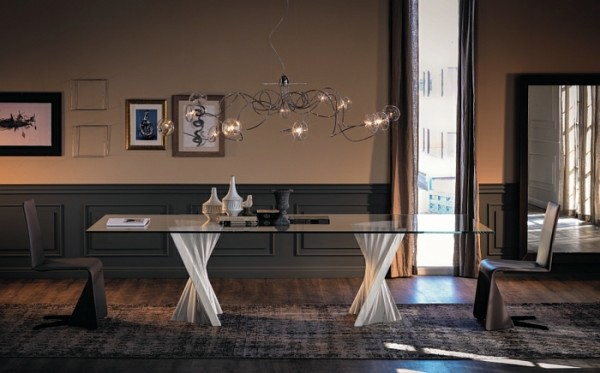 Modern dining tables with chairs show sculptural elegance ...