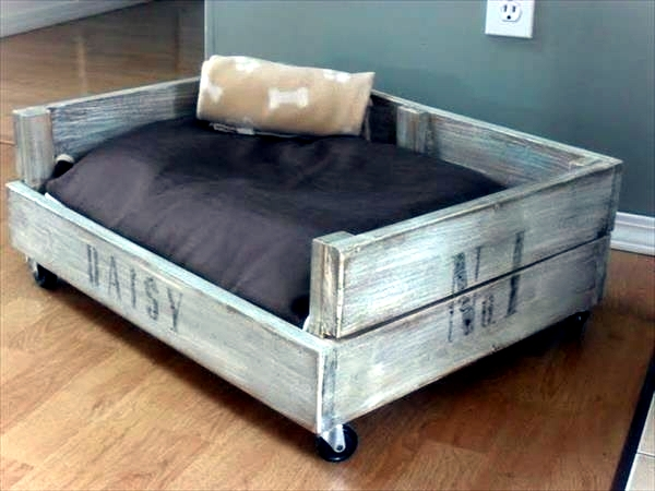 equipped with bed frame and wheels diy wooden dog beds from euro pallets