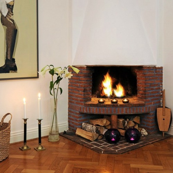 35 ideas for scandinavian fireplaces interior design - Fireplace between two rooms ...