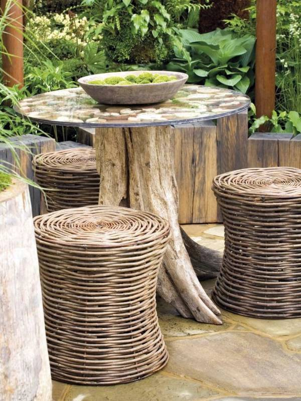 ... Wooden garden table with casters Use it as a coffee table or garden