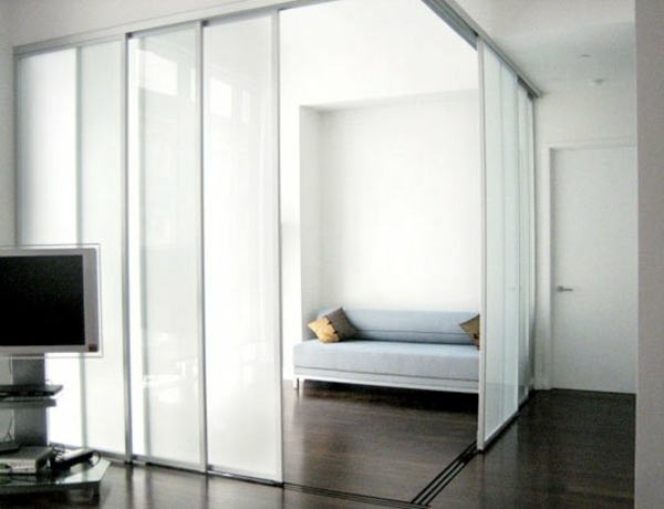Purist And Discreetly Decorated Sliding Doors As Room Dividers More Privacy In The Small Apartment