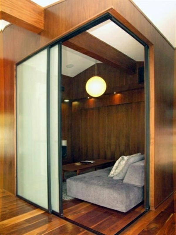 Sliding doors as room dividers more privacy in the small for Sliding door partition wall