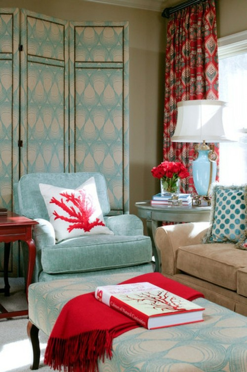 15-color interior design in red, white and blue. It starts ...