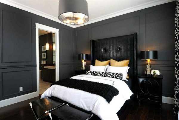 Bold bedroom color ideas with black and white accents for Dark color bedroom ideas