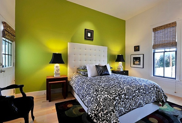 Green wall Bold bedroom color ideas with black and white accents. Bold bedroom color ideas with black and white accents   Interior