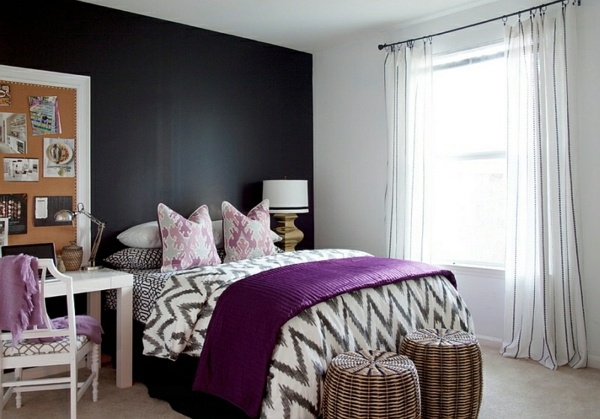 Purple Inspiration Bold bedroom color ideas with black and white accents  Interior
