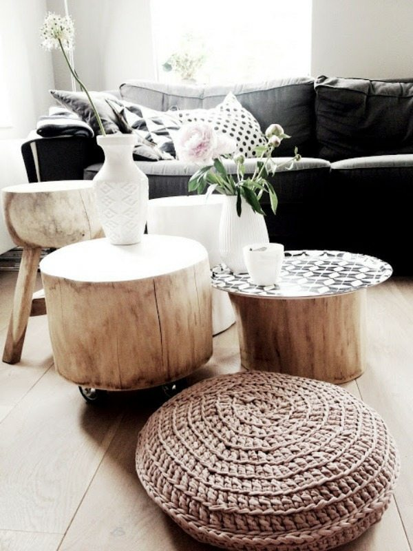 Table Tree Trunk Great Art Piece In The Living Room Interior Design Ideas