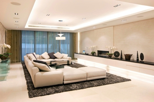 33 great decorating ideas for ceiling design in living for Living room overhead lighting