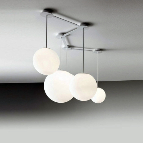 white ball lamps at different heights multiball lighting by roberto paoli interior design. Black Bedroom Furniture Sets. Home Design Ideas