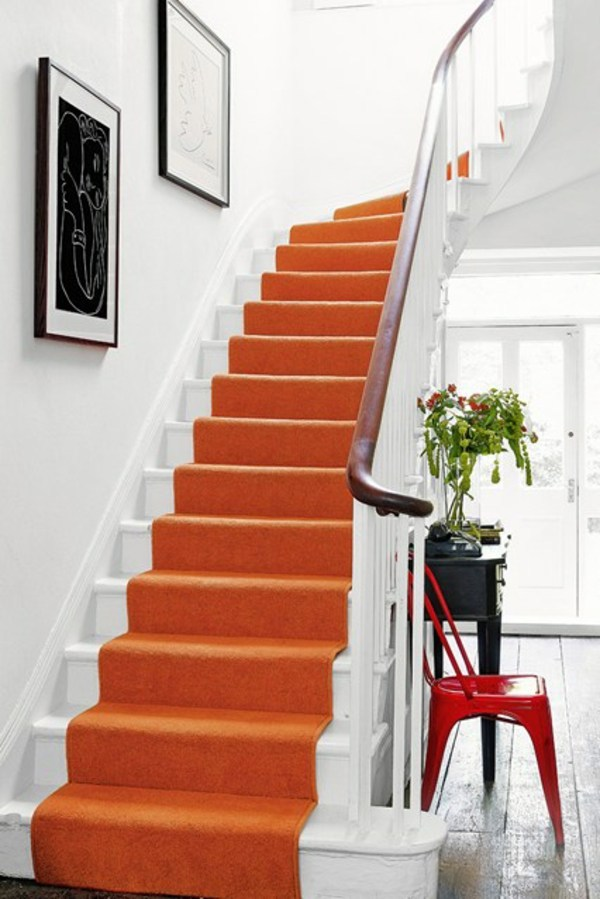 orange carpet contrast effect wall in the hallway 50 interior design tips and ideas wall colors