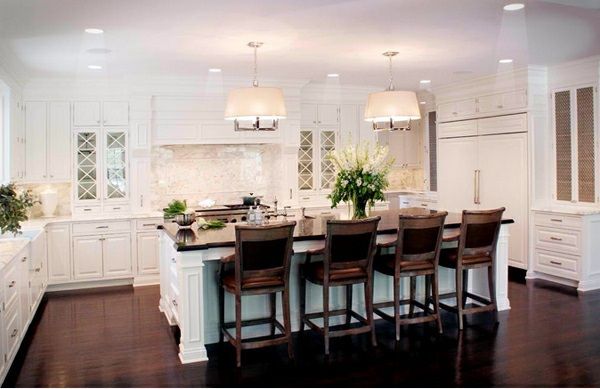 Practical Kitchen Chairs With High Backs Traditional White Country Kitchen    15 Cool Interior Design Ideas