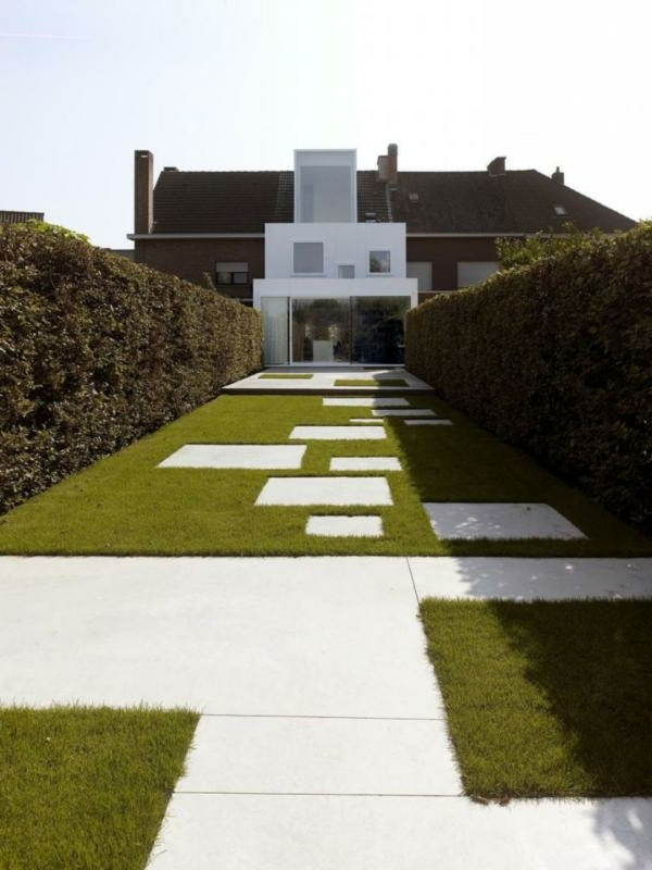 Stone Slabs And Lawn 50 Modern Garden Design Ideas