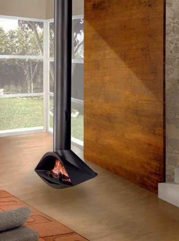 Hanging Stove Modern Luxury Fireplaces Interior Design Ideas