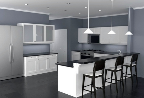 30 interior design ideas for wall paint in shades of gray for Grey wall paint kitchen