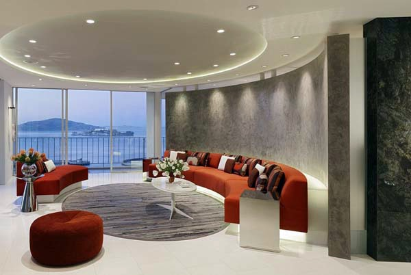 The circular living room design for the modern home Interior