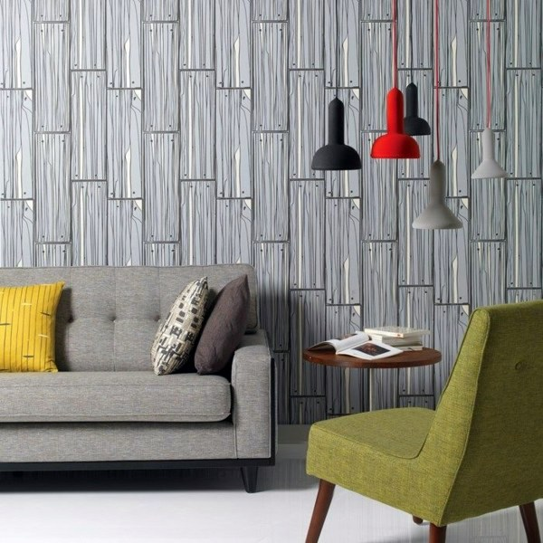 Charmant Wallpaper With Wood Look Living Room Wall Design Ideas   Cool Examples Of  Wallpaper Pattern