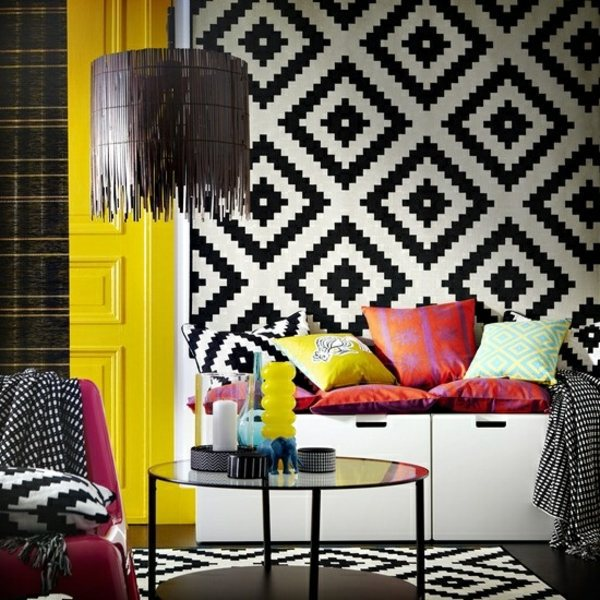 ... Living room wall design ideas - cool examples of wallpaper pattern