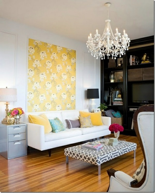 Hochwertig ... Living Room Wall Design Ideas   Cool Examples Of Wallpaper Pattern