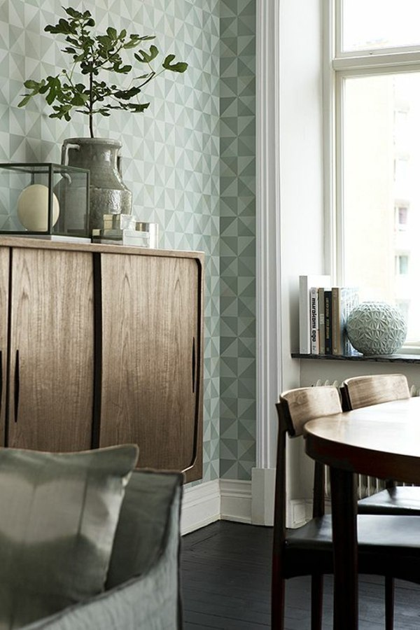 Geometric Wallpaper Pattern In Pastel Green Living Room Wall Design Ideas    Cool Examples Of Wallpaper Pattern