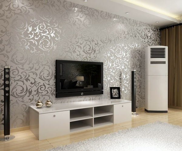 Genial Silver And Shiny Living Room Wall Design Ideas   Cool Examples Of Wallpaper  Pattern