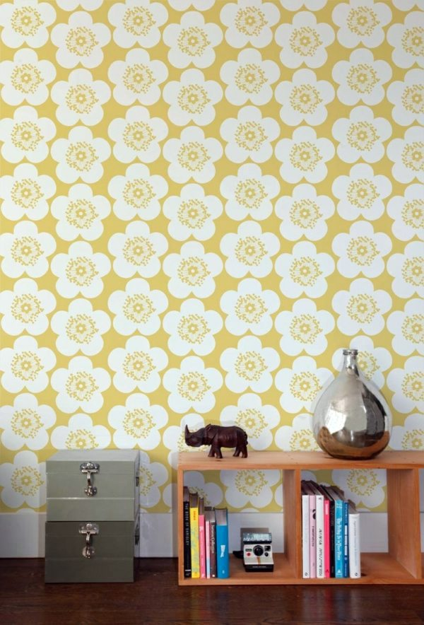 Floral Design In Yellow Living Room Wall Design Ideas   Cool Examples Of  Wallpaper Pattern