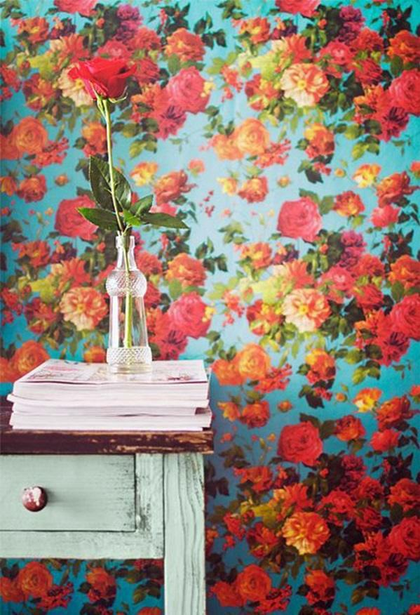 Colorful Floral Pattern In Vintage Style Living Room Wall Design Ideas    Cool Examples Of Wallpaper Pattern