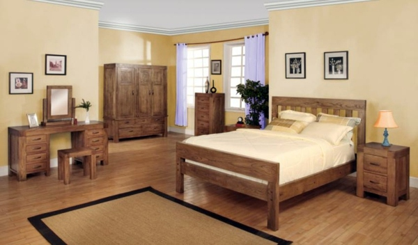 wood furniture for a beautiful bedroom design interior