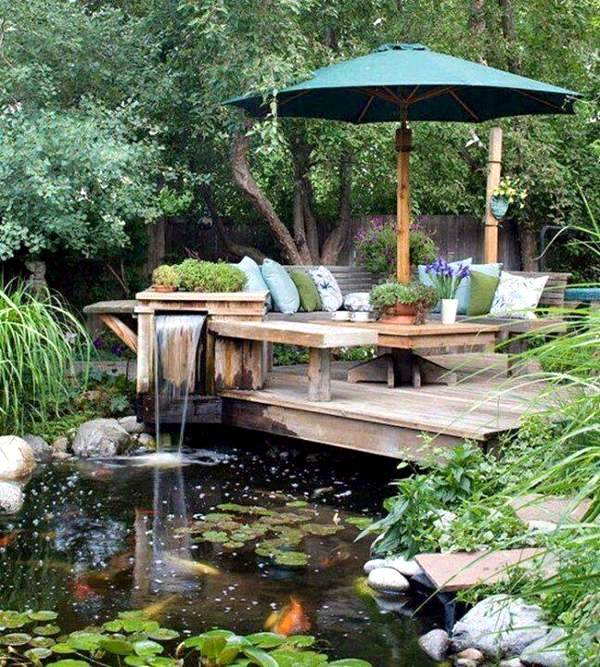 Creating a garden pond and create a green oasis interior for Garden pool zen area