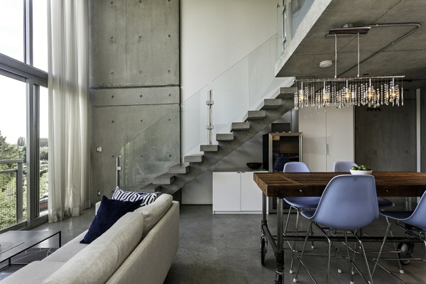 modern penthouse. Concrete staircase with glass railings Modern Penthouse in Vancouver  Interior Design Ideas AVSO ORG