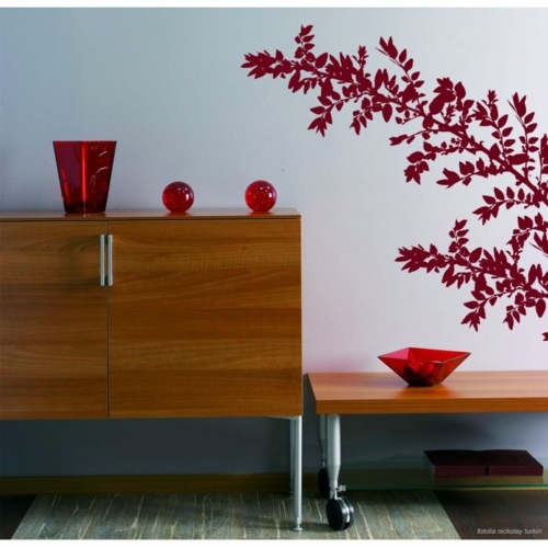 Topics Bright Red Wall Decoration With Decal