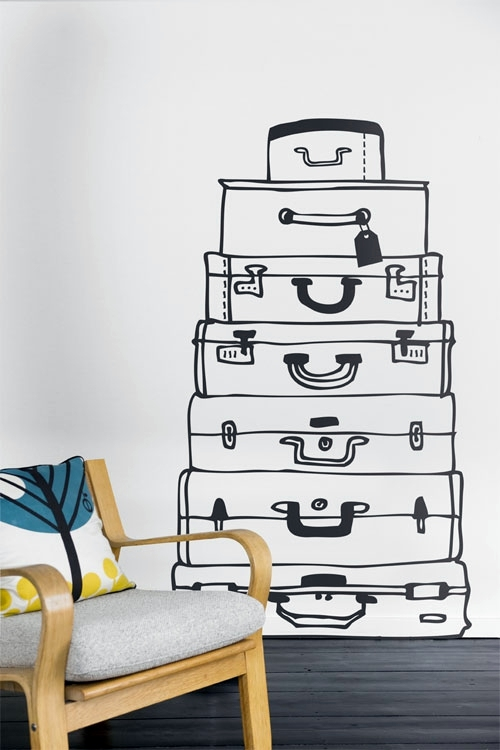 Wall Stickers Ideas Part - 37: A Pile Of Suitcases Wall Decoration With Wall Decal - 70 Beautiful Ideas  And Designs