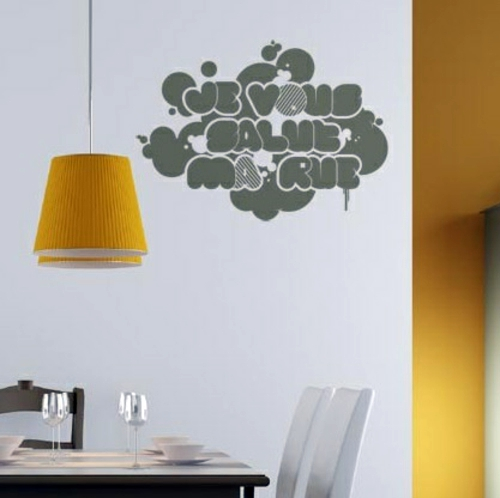 Accents Of Bright Yellow Wall Decoration With Wall Decal   70 Beautiful  Ideas And Designs