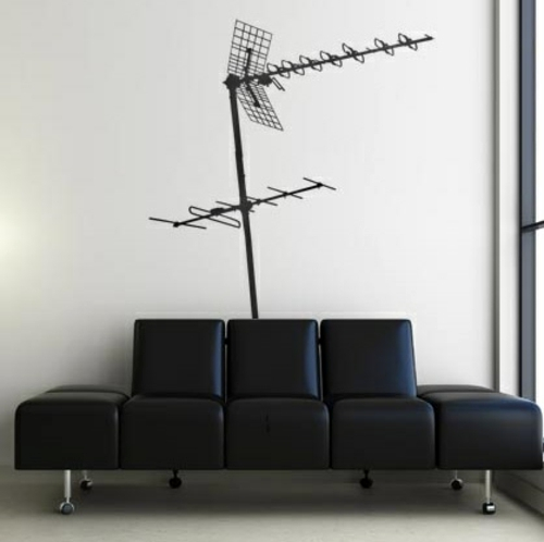 Antenna Behind The Leather Interior Landscape Wall Decoration With Wall  Decal   70 Beautiful Ideas And Designs