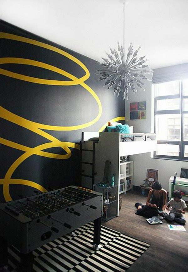 Yellow Ribbon On A Black Background Wall Painting Kids   Great Interior  Ideas