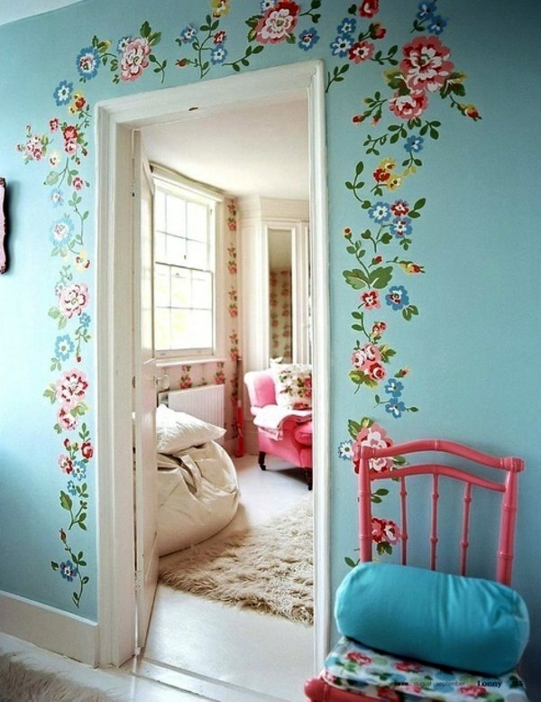 Vintage And Cute   Decorate Doors Painting Walls   35 Interior Design Ideas  For Amazing Wall Decoration