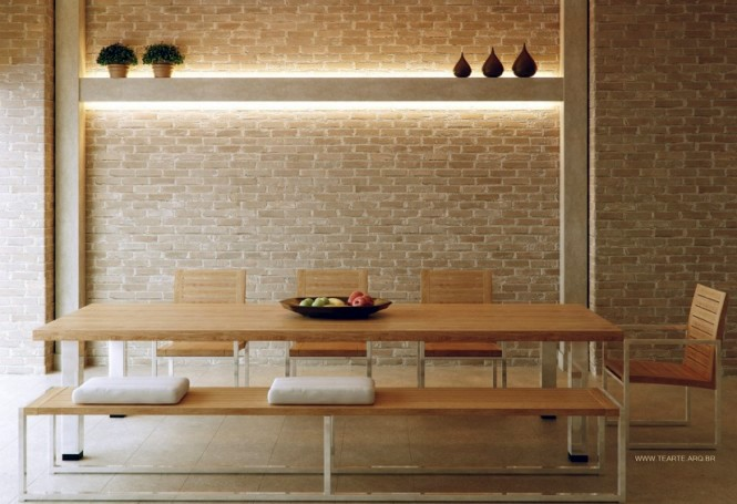 Cool and exciting dining room designs in white interior for Cool brick wall designs