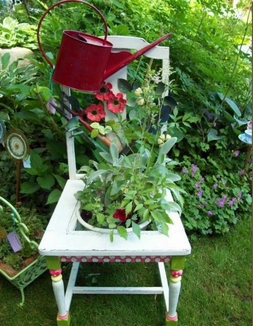 Old Chairs In The Garden With A New Function Attractive