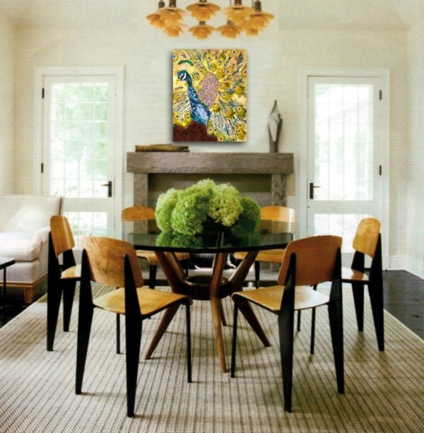 peacock feathers decoration in the living room – trends 2014