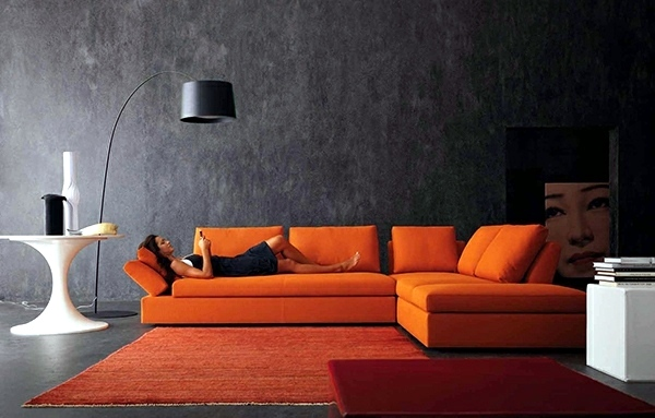 Modern living room design bright contrasting colors interior