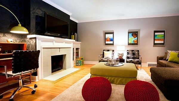 Modern Living Room Design Bright Contrasting Colors