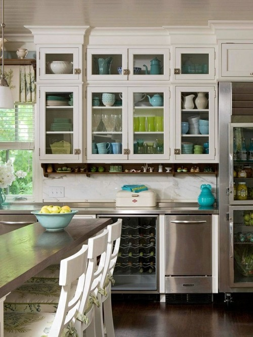 China cabinet and glass display case for a bright kitchen ...