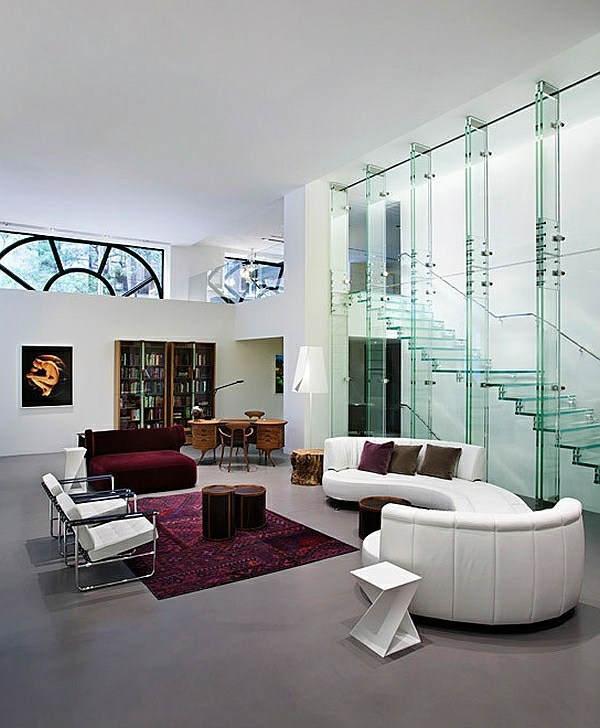 Stairs made of glass for a contemporary appearance for Interior design of living room with stairs