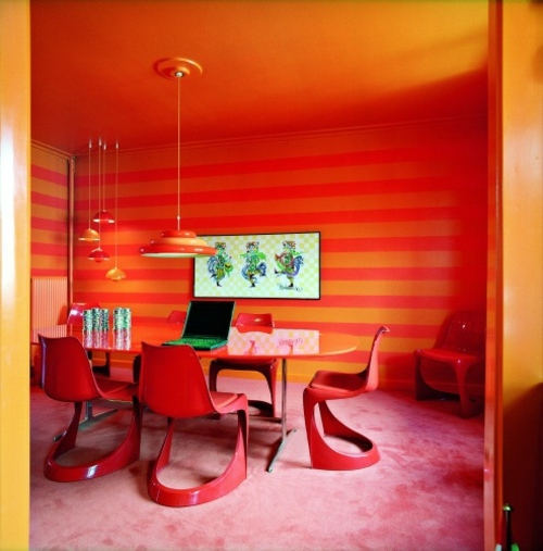 Bright Orange Living Room Accessories: 27 Bright And Colorful Dining Room Design Ideas