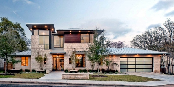 Modern Texas residence combines period features with cool blue ...