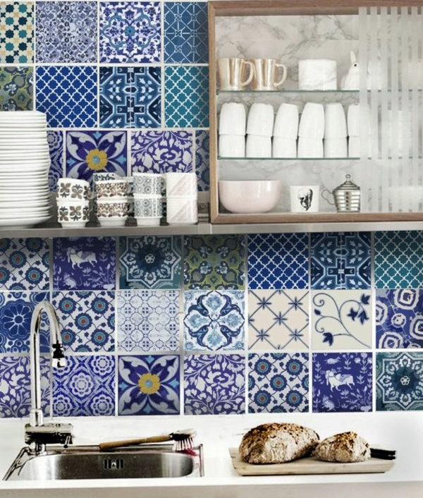 Shades Of Blue Kitchen Wall Tiles   The Rear Wall Plays An Important Role  In The Kitchen