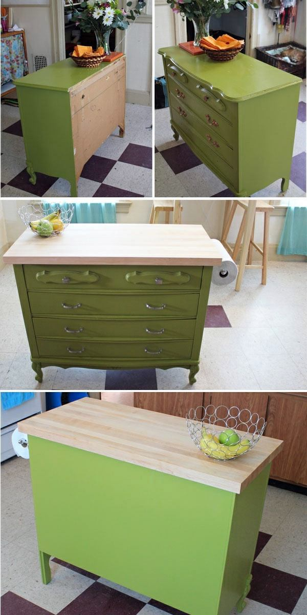 Before And After The Old Dresser As A Kitchen Block Use   DIY Project For  You