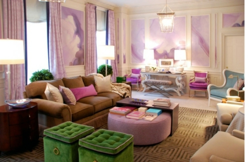 ... Stylish Purple Living Room Interior